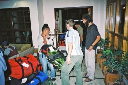 Bag weighing in Hotel at Kathmandu